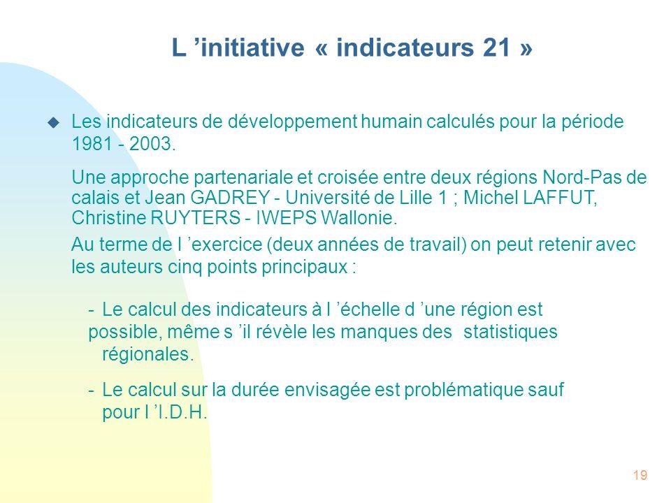 19 L initiative « indicateurs 21 » Les indicateurs de développement humain calculés pour la période 1981 - 2003. Une approche partenariale et croisée
