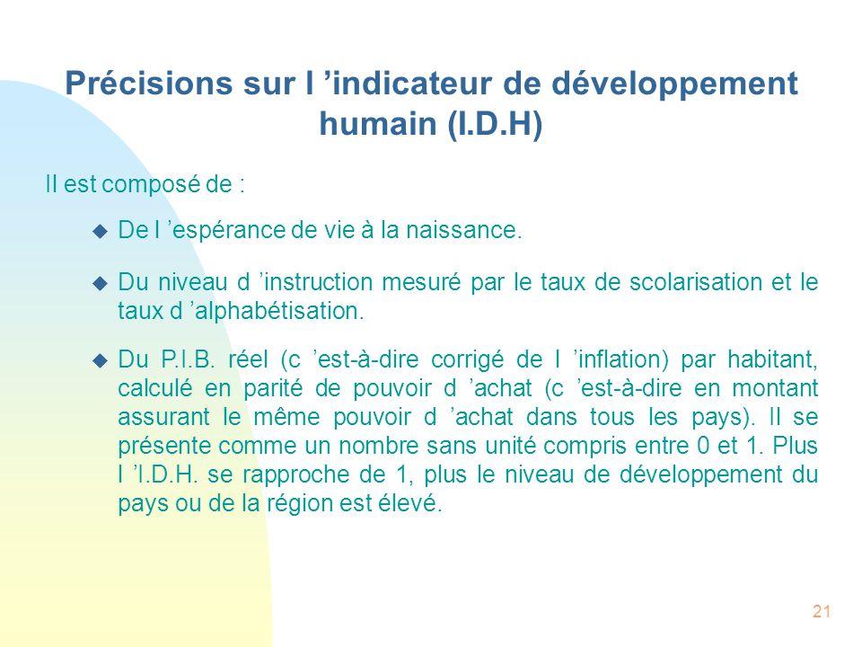 21 Précisions sur l indicateur de développement humain (I.D.H) Il est composé de : De l espérance de vie à la naissance. Du niveau d instruction mesur