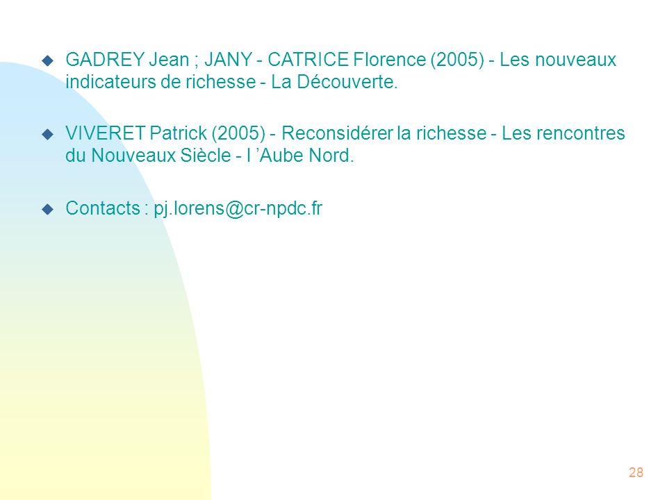 28 GADREY Jean ; JANY - CATRICE Florence (2005) - Les nouveaux indicateurs de richesse - La Découverte. VIVERET Patrick (2005) - Reconsidérer la riche