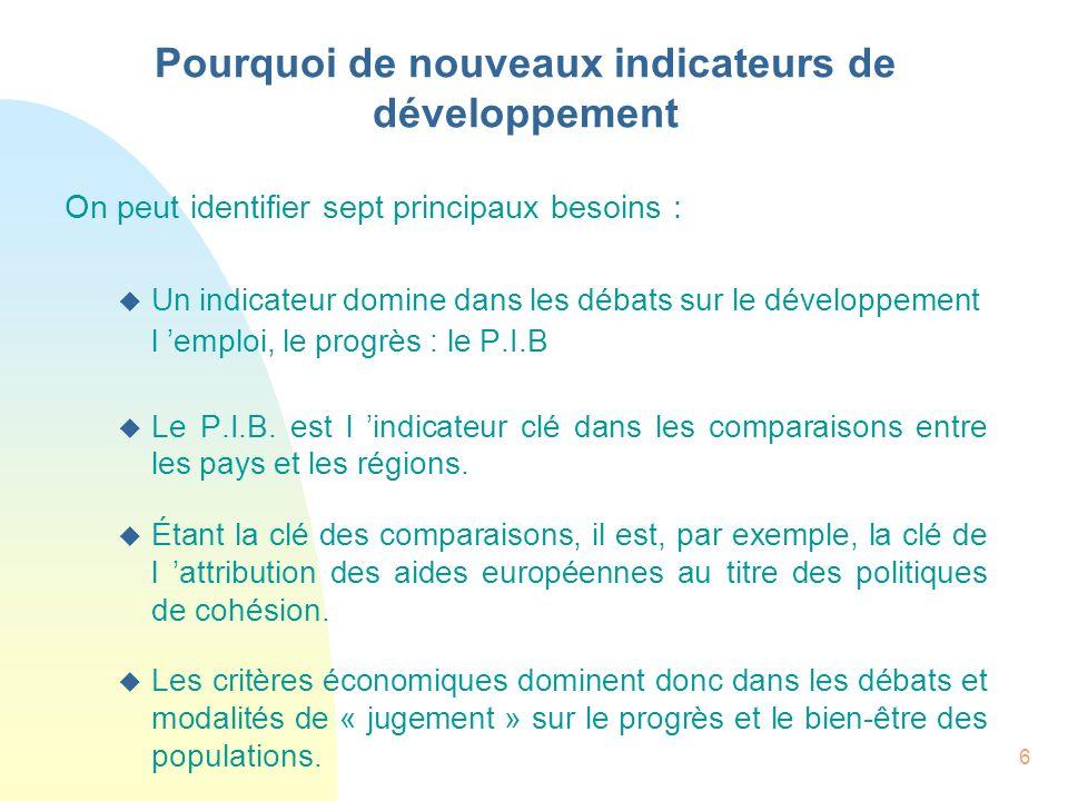 6 On peut identifier sept principaux besoins : u Un indicateur domine dans les débats sur le développement l emploi, le progrès : le P.I.B u Le P.I.B.