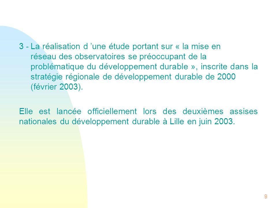 9 3 -La réalisation d une étude portant sur « la mise en réseau des observatoires se préoccupant de la problématique du développement durable », inscr