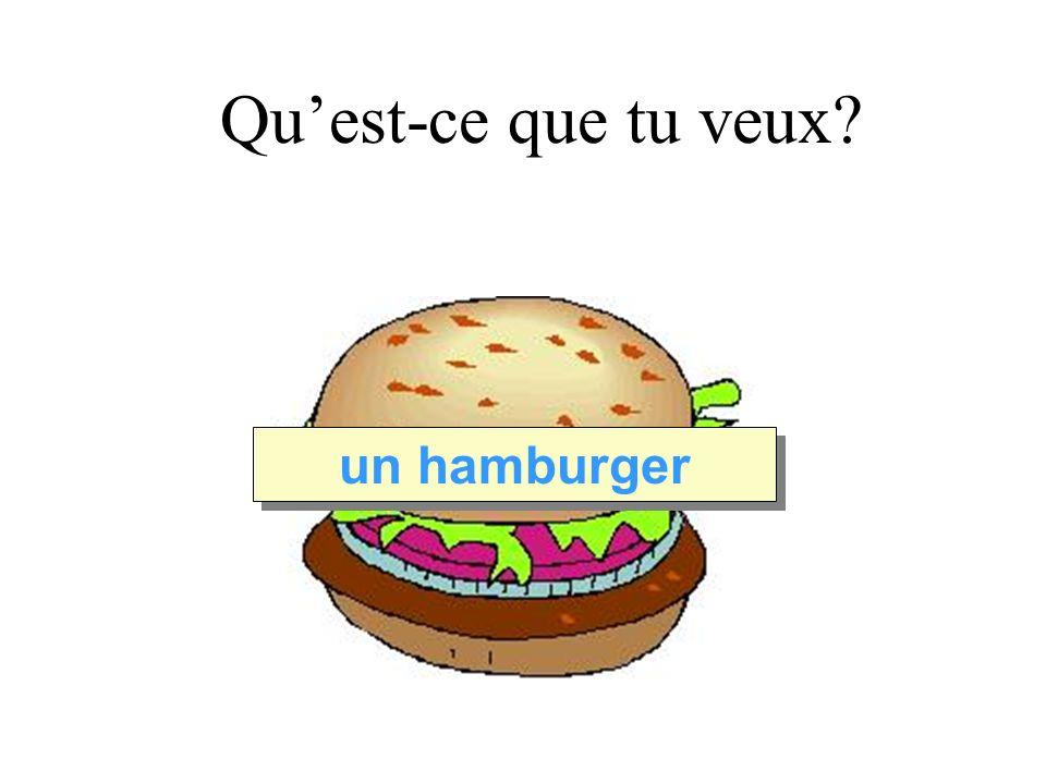 Quest-ce que tu veux un hamburger Je voudrais…