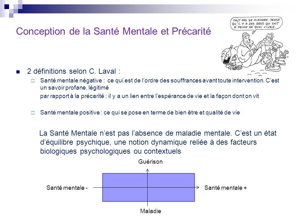 Conception de la Santé Mentale et Précarité 2 définitions selon C. Laval : Santé mentale négative : ce qui est de lordre des souffrances avant toute i