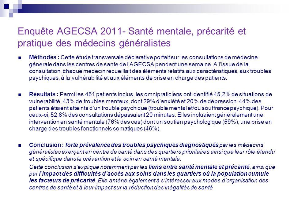 Méthodes : Cette étude transversale déclarative portait sur les consultations de médecine générale dans les centres de santé de lAGECSA pendant une se