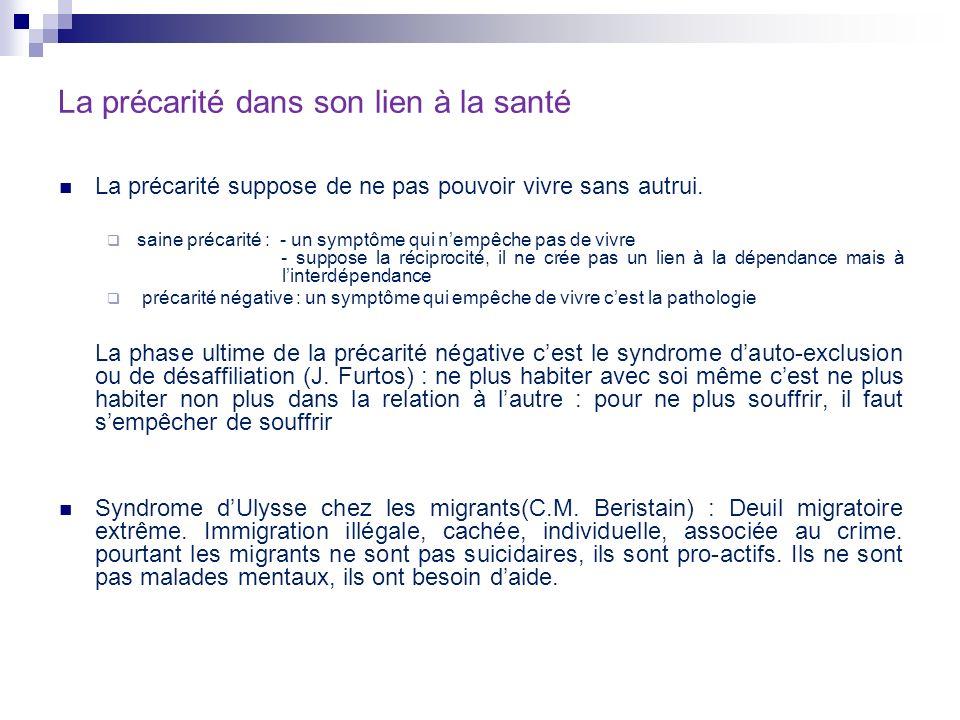 La santé précaire : des droits pour à la santé à laccès aux soins Sanitarisation du social (J.