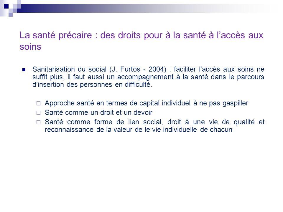 La santé précaire : des droits pour à la santé à laccès aux soins Sanitarisation du social (J. Furtos - 2004) : faciliter laccès aux soins ne suffit p