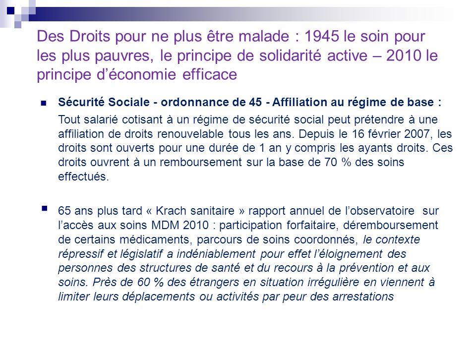 Des Droits pour ne plus être malade : 1945 le soin pour les plus pauvres, le principe de solidarité active – 2010 le principe déconomie efficace Sécur