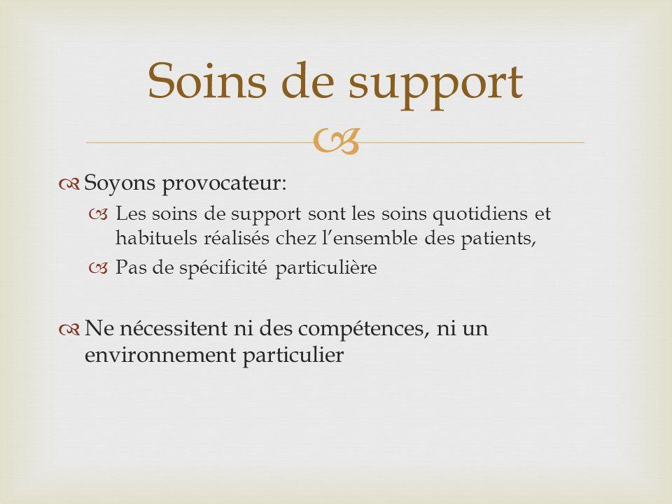 Soyons provocateur: Les soins de support sont les soins quotidiens et habituels réalisés chez lensemble des patients, Pas de spécificité particulière