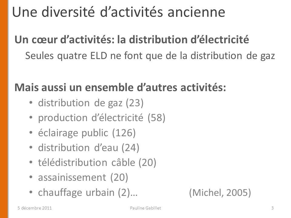 Une diversité dactivités ancienne Un cœur dactivités: la distribution délectricité Seules quatre ELD ne font que de la distribution de gaz Mais aussi