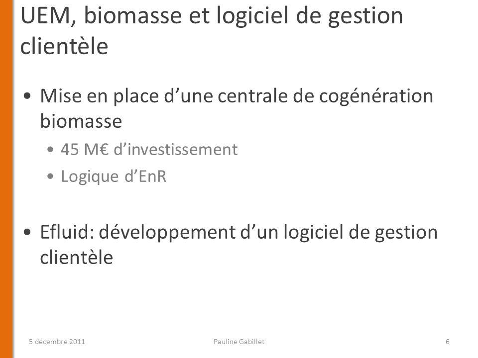 UEM, biomasse et logiciel de gestion clientèle Mise en place dune centrale de cogénération biomasse 45 M dinvestissement Logique dEnR Efluid: développ