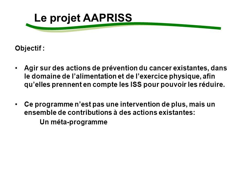 Objectif : Agir sur des actions de prévention du cancer existantes, dans le domaine de lalimentation et de lexercice physique, afin quelles prennent en compte les ISS pour pouvoir les réduire.