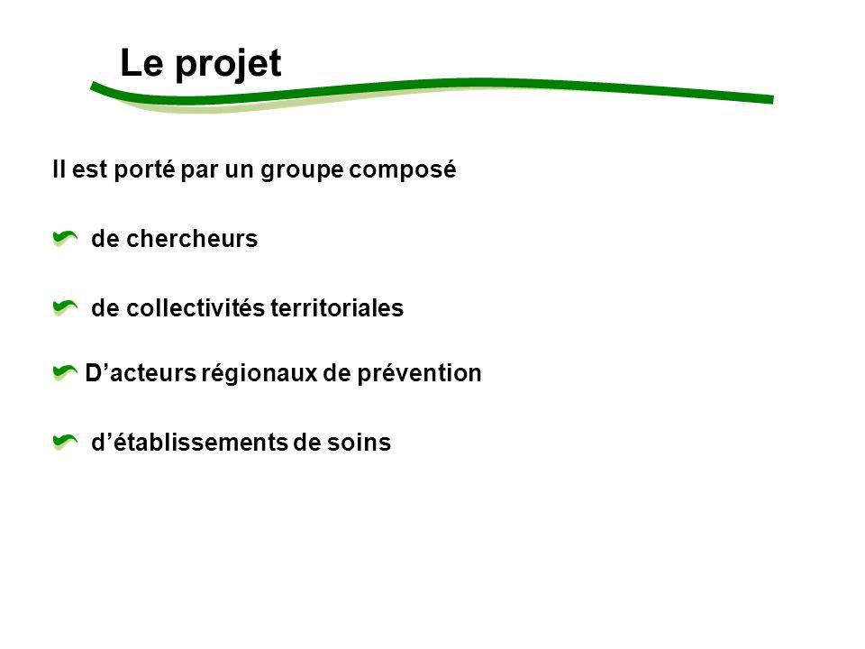 Il est porté par un groupe composé de chercheurs de collectivités territoriales Dacteurs régionaux de prévention détablissements de soins Le projet