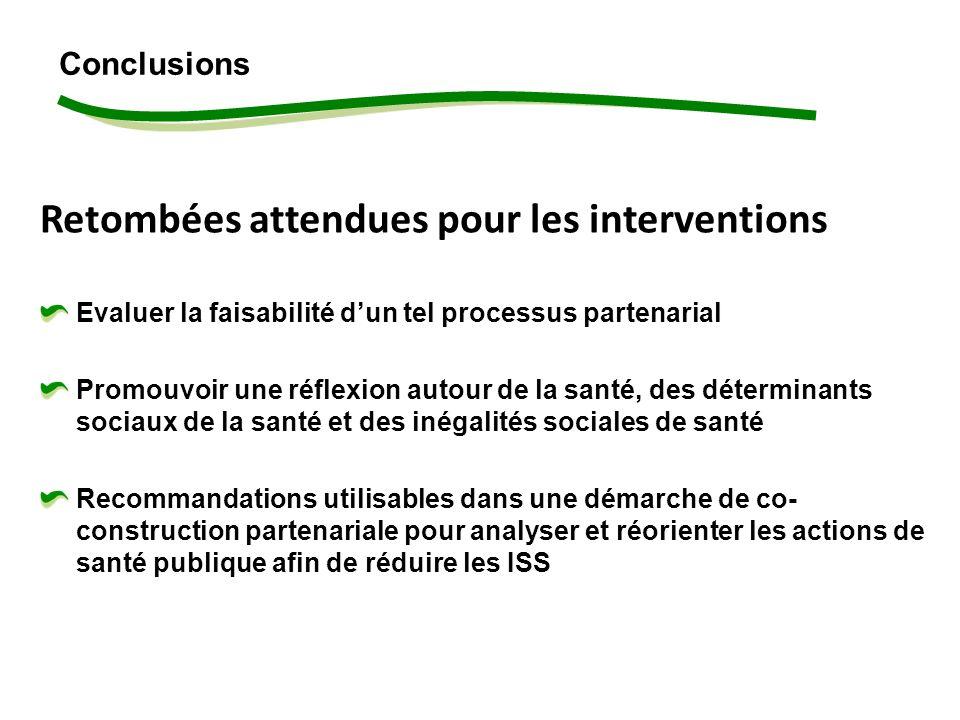 Retombées attendues pour les interventions Evaluer la faisabilité dun tel processus partenarial Promouvoir une réflexion autour de la santé, des déterminants sociaux de la santé et des inégalités sociales de santé Recommandations utilisables dans une démarche de co- construction partenariale pour analyser et réorienter les actions de santé publique afin de réduire les ISS Conclusions