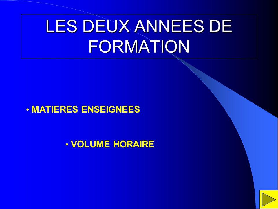 LES DEUX ANNEES DE FORMATION MATIERES ENSEIGNEES VOLUME HORAIRE