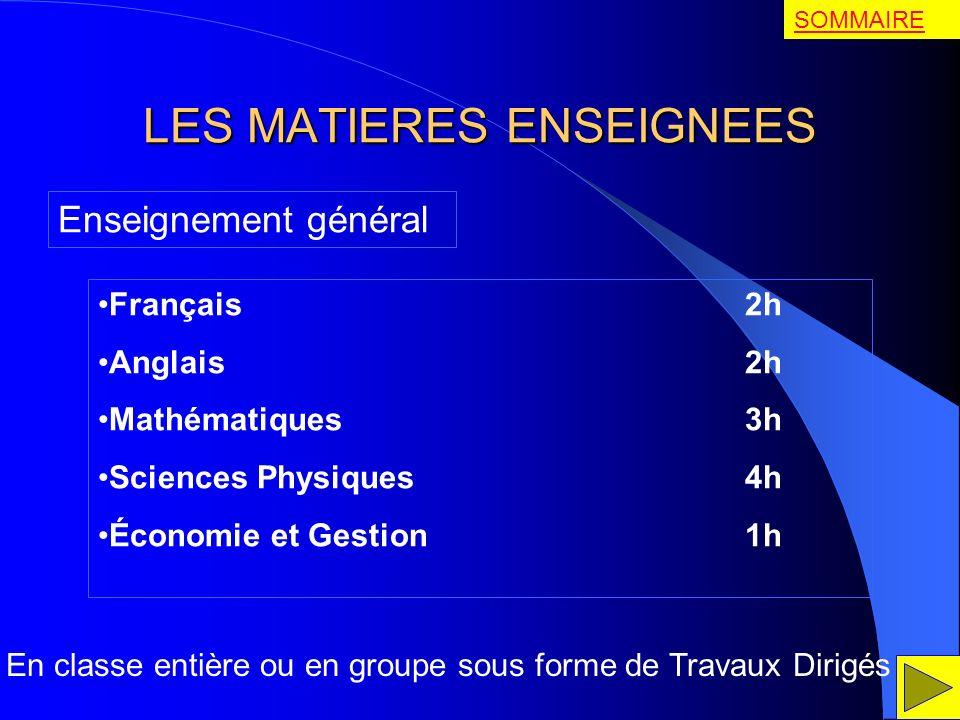 LES MATIERES ENSEIGNEES Enseignement général Français 2h Anglais 2h Mathématiques 3h Sciences Physiques 4h Économie et Gestion 1h En classe entière ou
