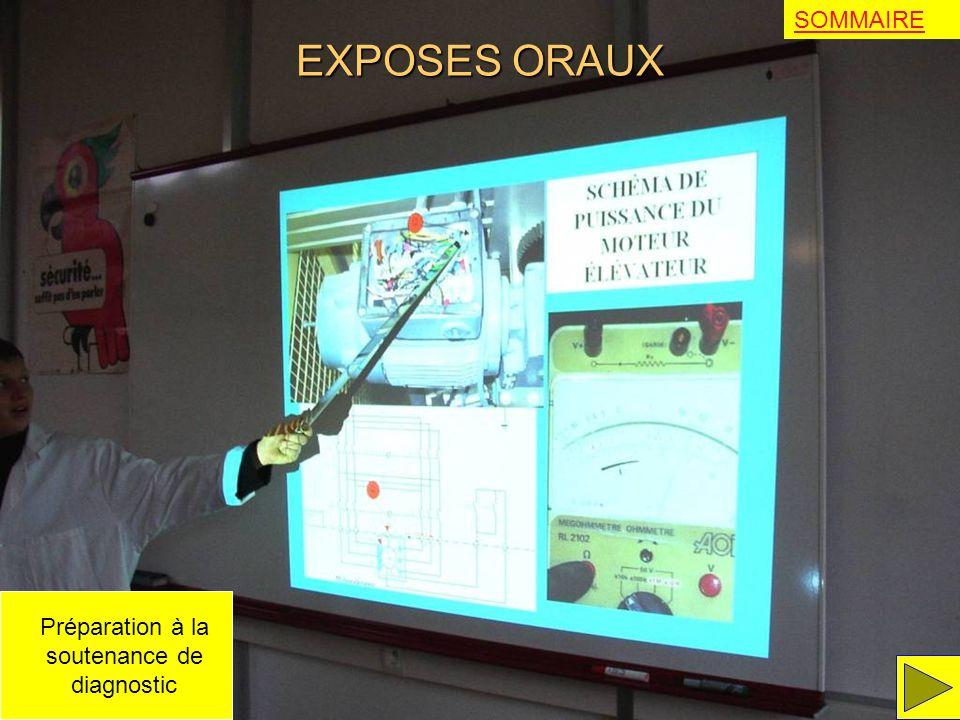EXPOSES ORAUX SOMMAIRE Préparation à la soutenance de diagnostic