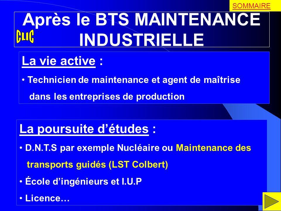 Après le BTS MAINTENANCE INDUSTRIELLE La vie active : Technicien de maintenance et agent de maîtrise dans les entreprises de production La poursuite d