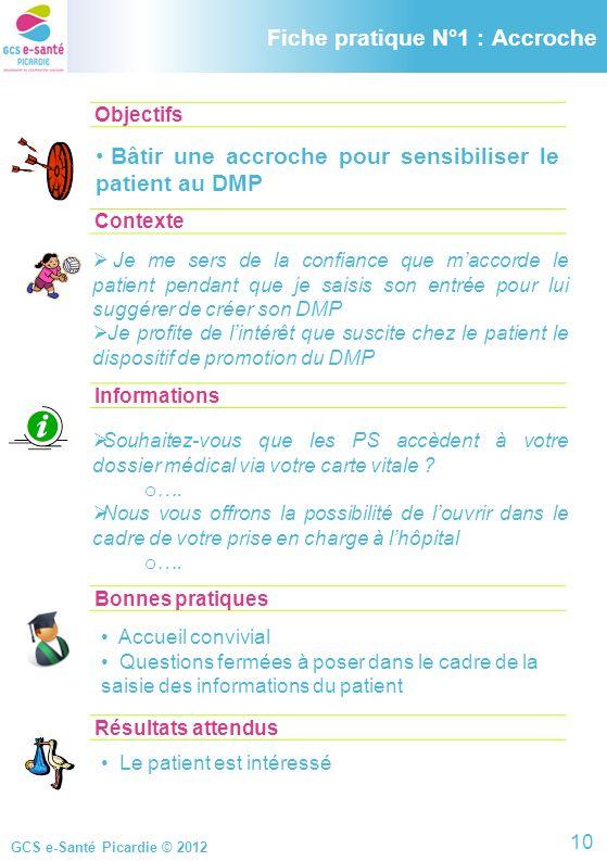 GCS e-Santé Picardie © 2012 Objectifs ContexteInformationsBonnes pratiques Accueil convivial Questions fermées à poser dans le cadre de la saisie des