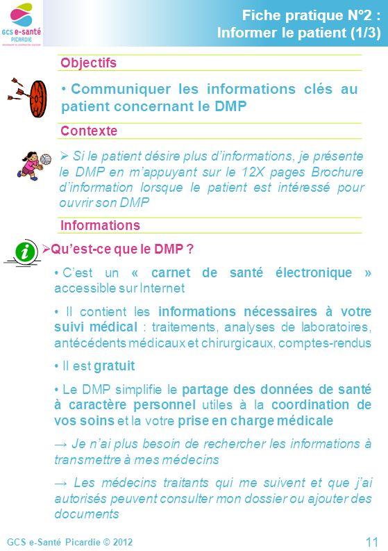 GCS e-Santé Picardie © 2012 Objectifs ContexteInformations Fiche pratique N°2 : Informer le patient (1/3) Communiquer les informations clés au patient