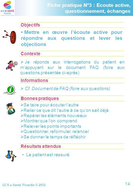 GCS e-Santé Picardie © 2012 Objectifs ContexteInformations Fiche pratique N°3 : Ecoute active, questionnement, échanges Mettre en œuvre lécoute active