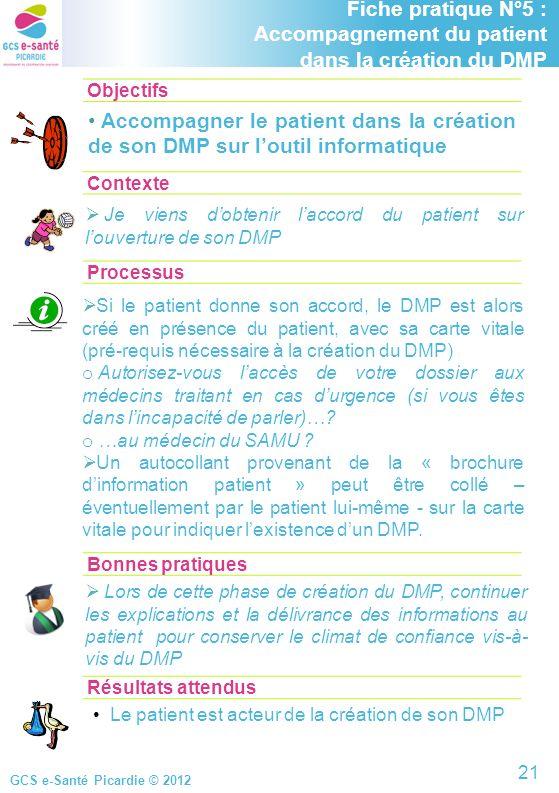 GCS e-Santé Picardie © 2012 Objectifs ContexteProcessus Fiche pratique N°5 : Accompagnement du patient dans la création du DMP Accompagner le patient