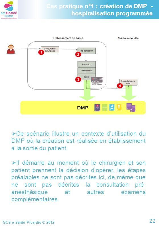 GCS e-Santé Picardie © 2012 Cas pratique n°1 : création de DMP - hospitalisation programmée Ce scénario illustre un contexte dutilisation du DMP où la