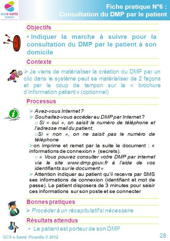 GCS e-Santé Picardie © 2012 Objectifs Contexte Processus Fiche pratique N°6 : consultation du DMP par le patient Indiquer la marche à suivre pour la c
