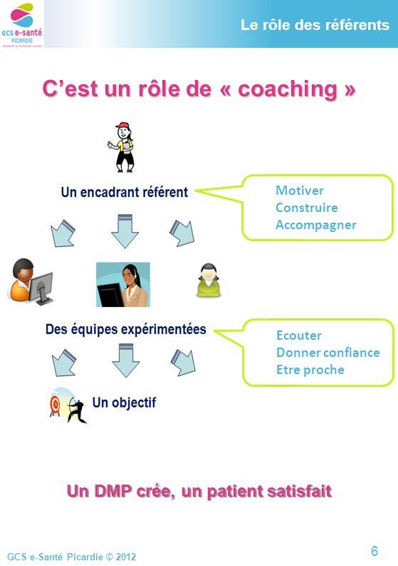 GCS e-Santé Picardie © 2012 Le rôle des référents Cest un rôle de « coaching » Motiver Construire Accompagner Ecouter Donner confiance Etre proche Un