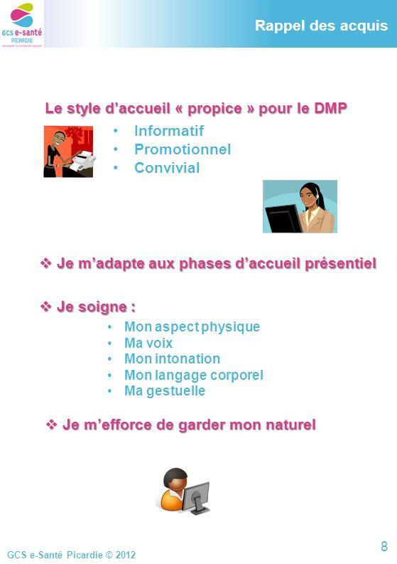 GCS e-Santé Picardie © 2012 Rappel des acquis Le style daccueil « propice » pour le DMP Le style daccueil « propice » pour le DMP Informatif Promotion