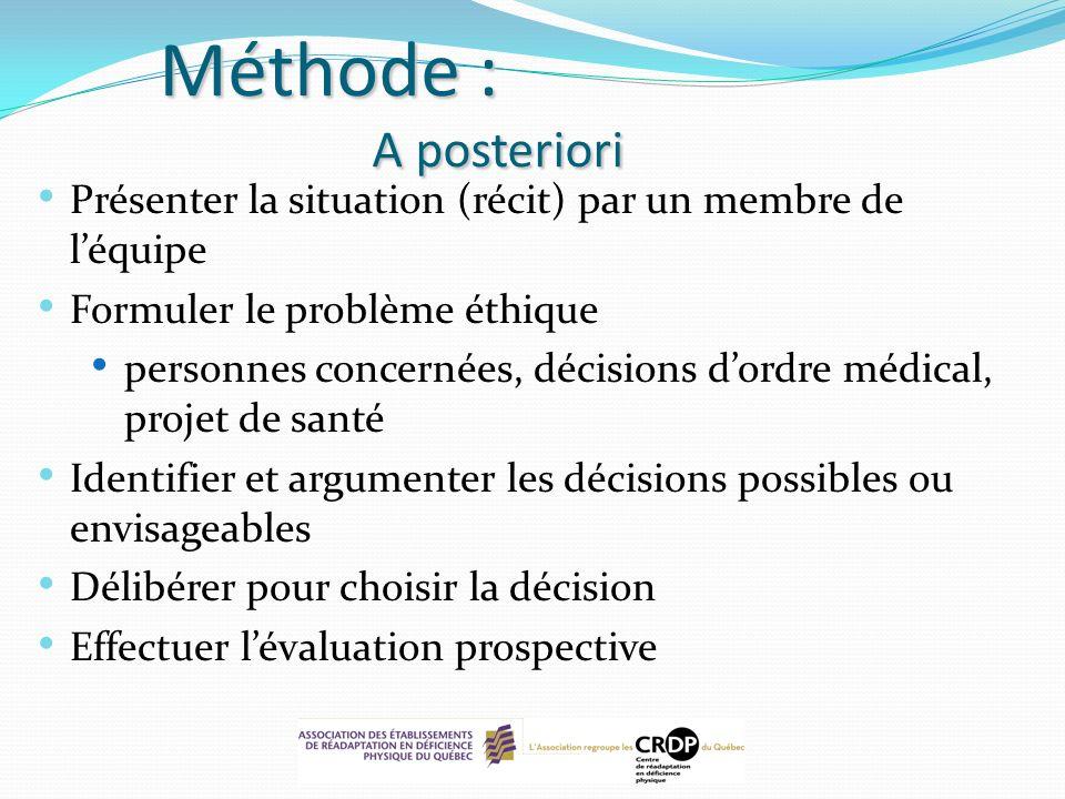 Méthode : A posteriori Présenter la situation (récit) par un membre de léquipe Formuler le problème éthique personnes concernées, décisions dordre méd