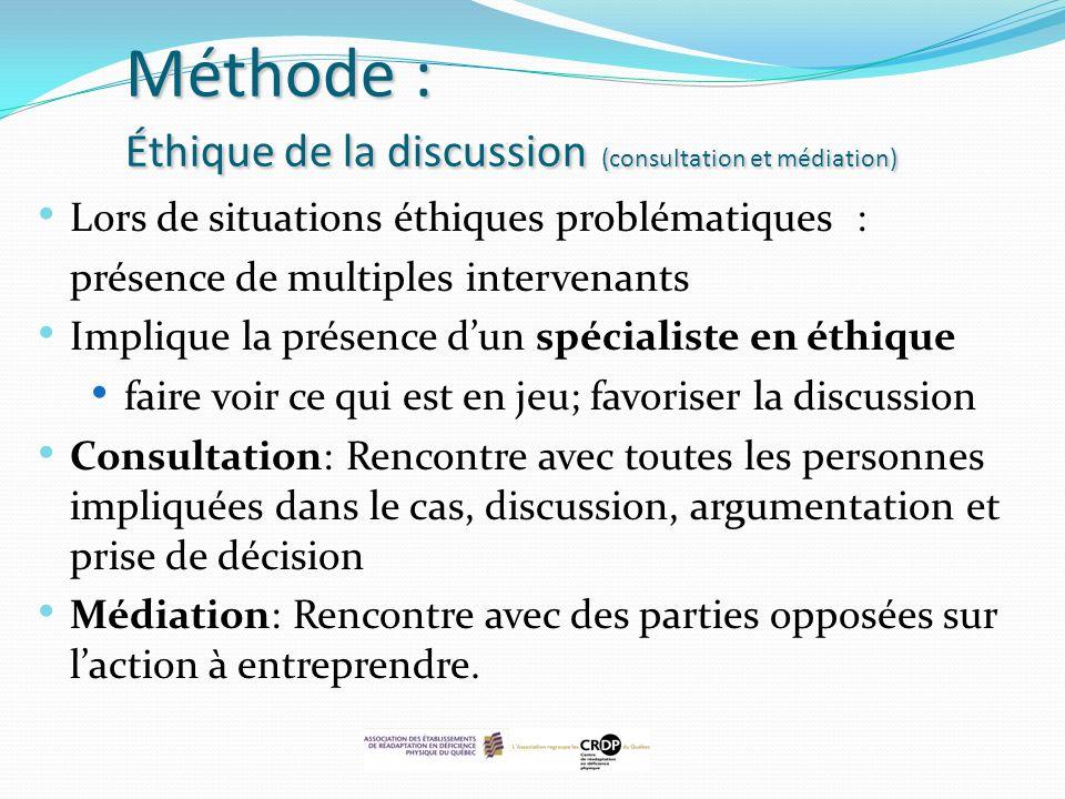 Méthode : Éthique de la discussion (consultation et médiation) Lors de situations éthiques problématiques : présence de multiples intervenants Impliqu