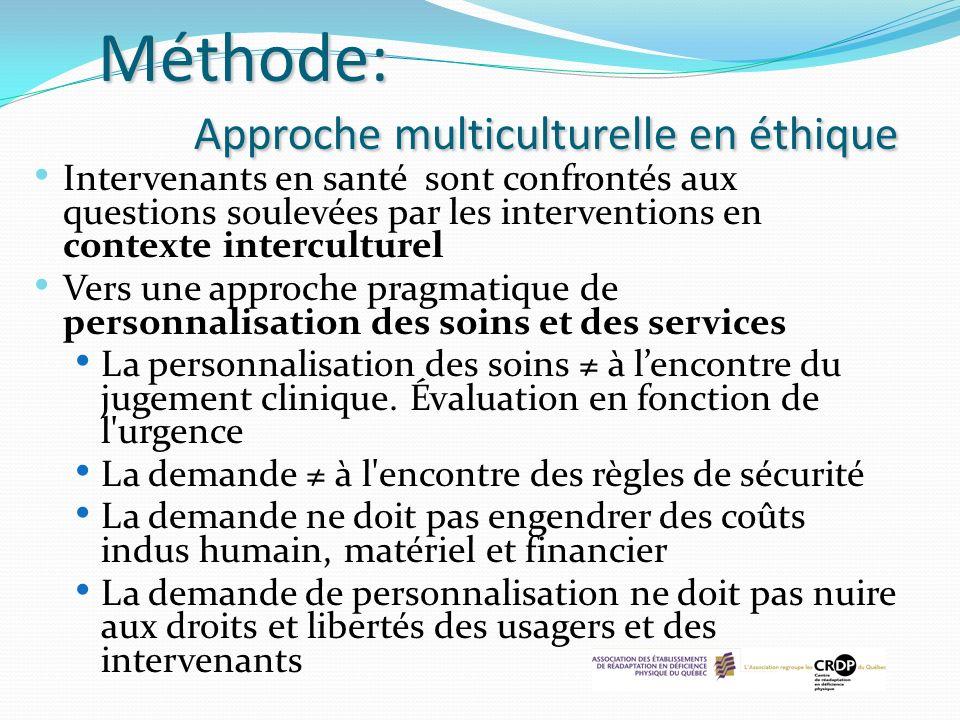 Méthode: Approche multiculturelle en éthique Intervenants en santé sont confrontés aux questions soulevées par les interventions en contexte intercult