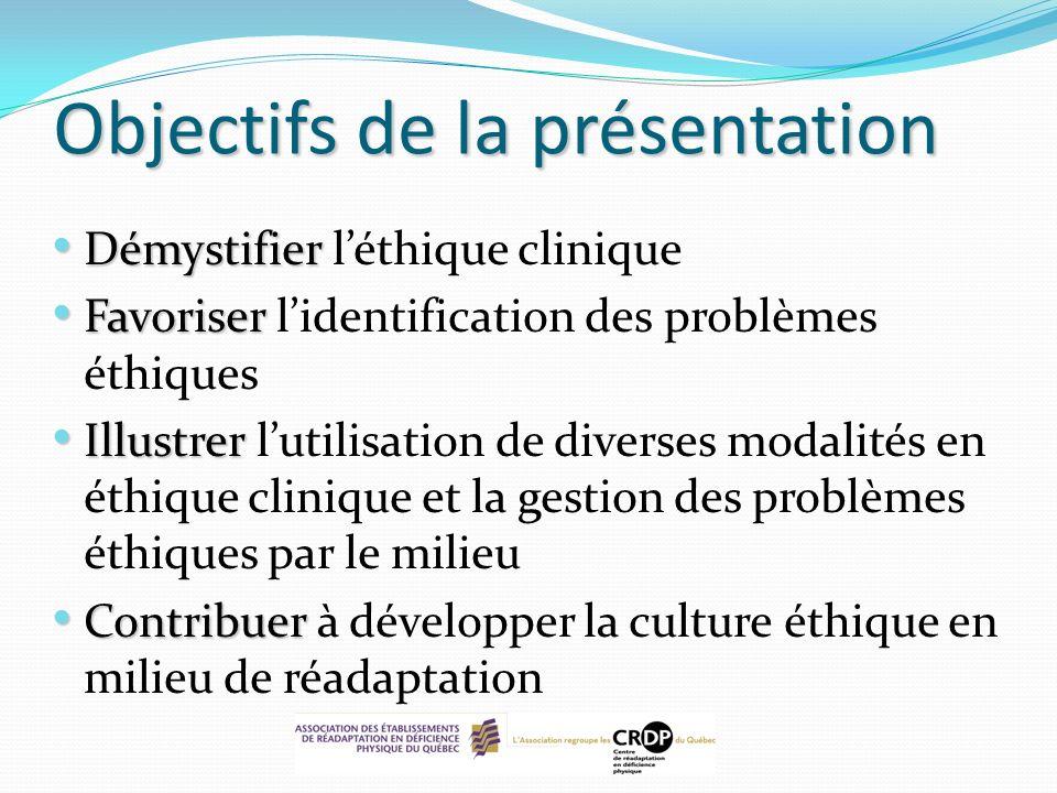 Objectifs de la présentation Démystifier Démystifier léthique clinique Favoriser Favoriser lidentification des problèmes éthiques Illustrer Illustrer