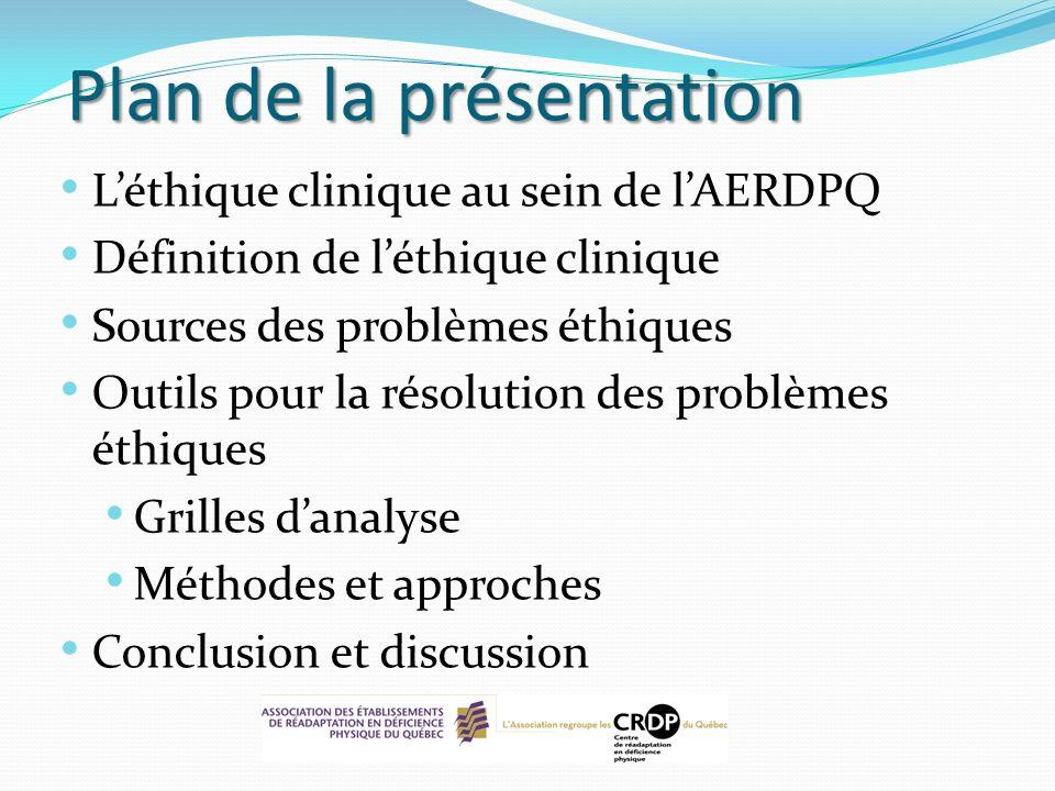 Plan de la présentation Léthique clinique au sein de lAERDPQ Définition de léthique clinique Sources des problèmes éthiques Outils pour la résolution