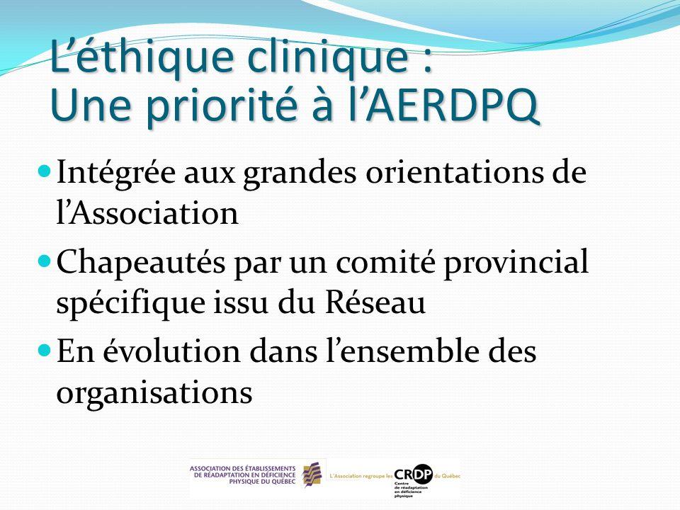 Léthique clinique : Une priorité à lAERDPQ Intégrée aux grandes orientations de lAssociation Chapeautés par un comité provincial spécifique issu du Ré