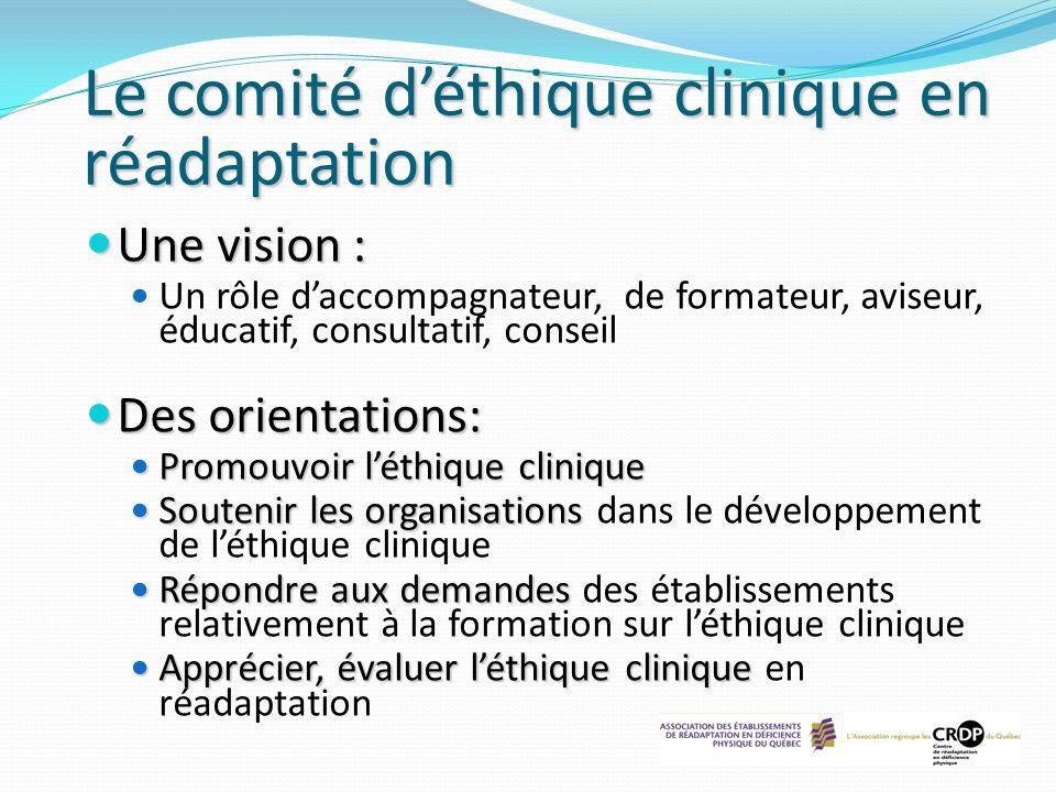 Le comité déthique clinique en réadaptation Une vision : Une vision : Un rôle daccompagnateur, de formateur, aviseur, éducatif, consultatif, conseil D