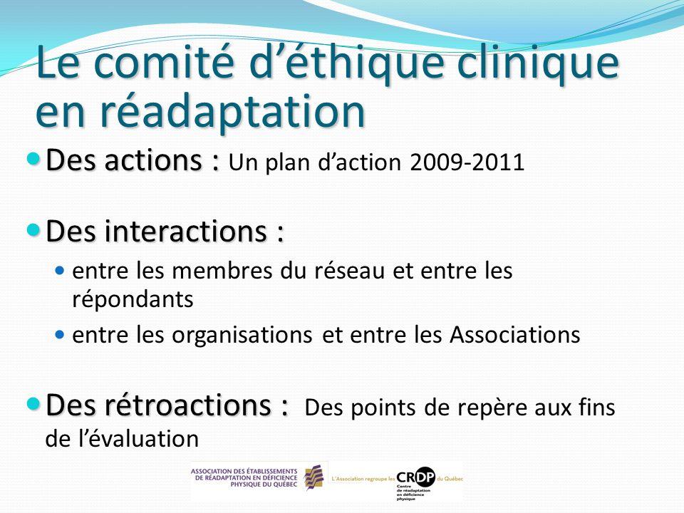 Des actions : Des actions : Un plan daction 2009-2011 Des interactions : Des interactions : entre les membres du réseau et entre les répondants entre
