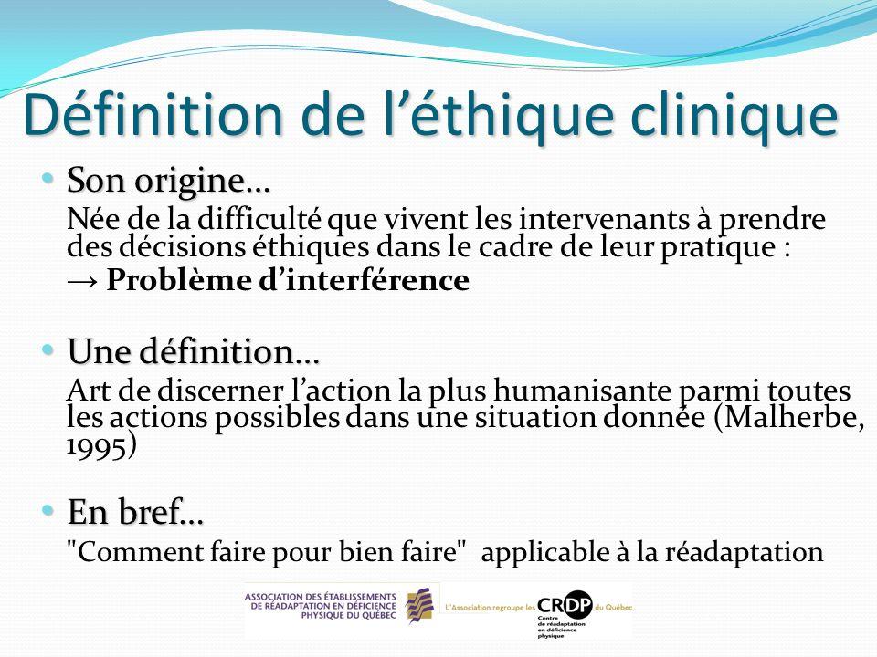 Définition de léthique clinique Son origine… Son origine… Née de la difficulté que vivent les intervenants à prendre des décisions éthiques dans le ca