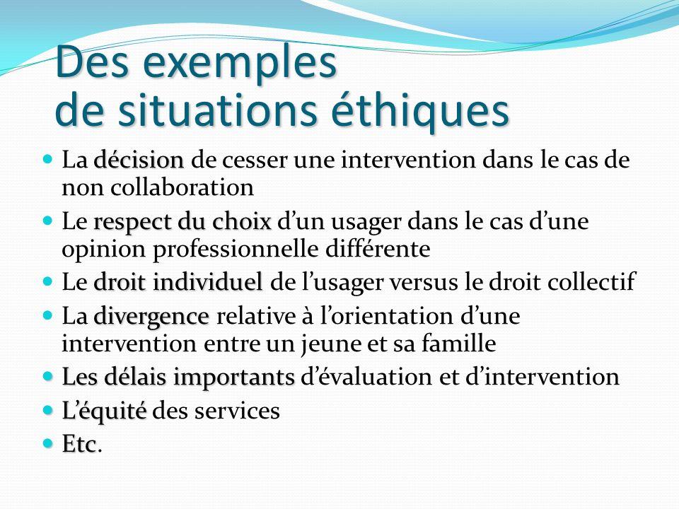 Des exemples de situations éthiques décision La décision de cesser une intervention dans le cas de non collaboration respect du choix Le respect du ch