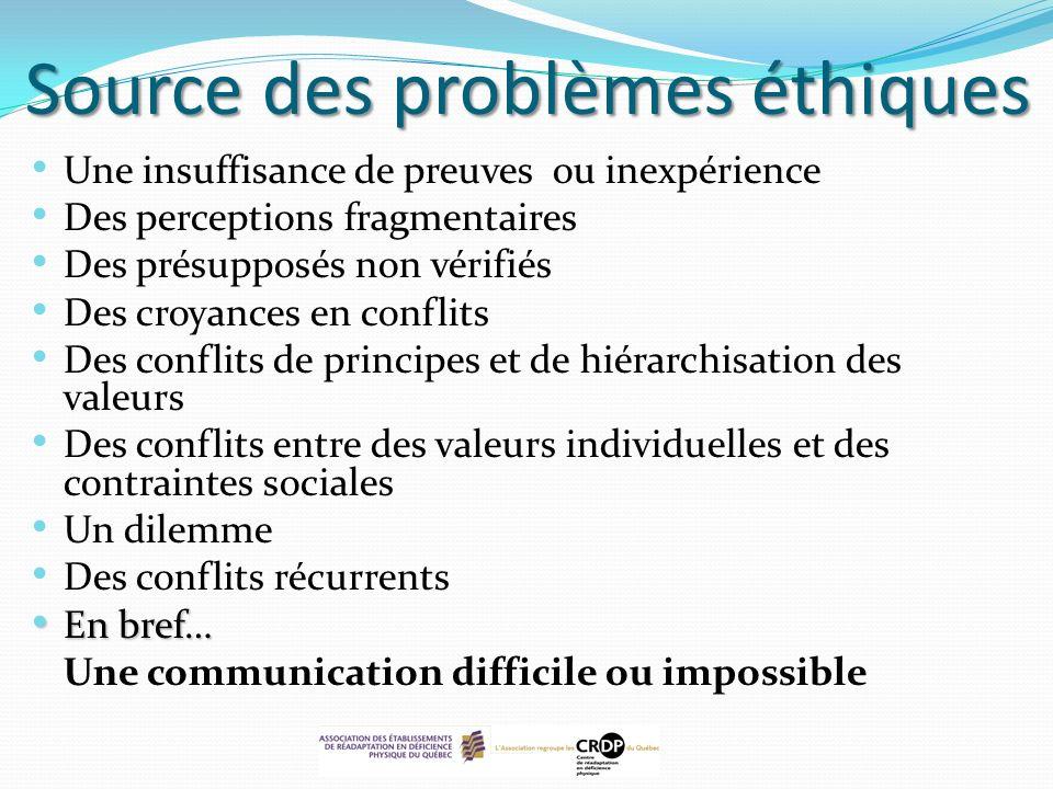 Source des problèmes éthiques Une insuffisance de preuves ou inexpérience Des perceptions fragmentaires Des présupposés non vérifiés Des croyances en