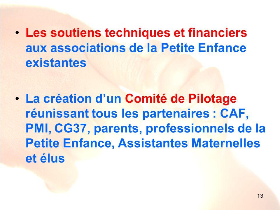 13 Les soutiens techniques et financiers aux associations de la Petite Enfance existantes La création dun Comité de Pilotage réunissant tous les parte