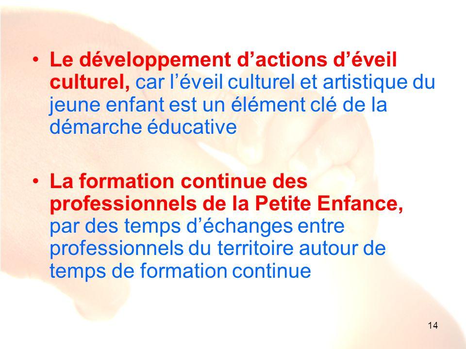 14 Le développement dactions déveil culturel, car léveil culturel et artistique du jeune enfant est un élément clé de la démarche éducative La formati