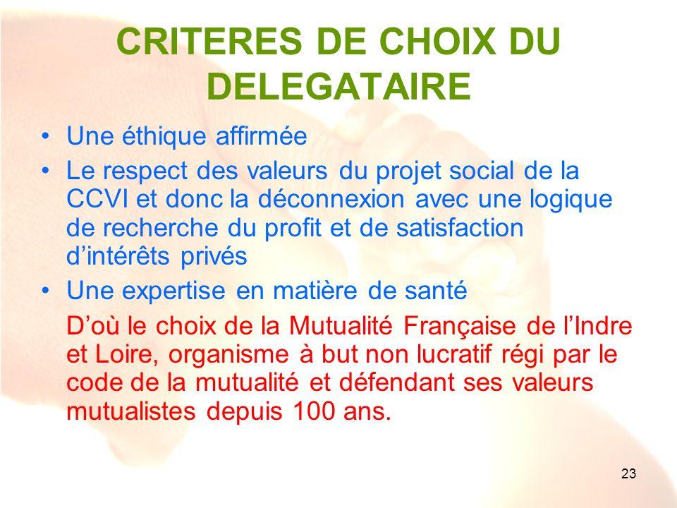 23 CRITERES DE CHOIX DU DELEGATAIRE Une éthique affirmée Le respect des valeurs du projet social de la CCVI et donc la déconnexion avec une logique de