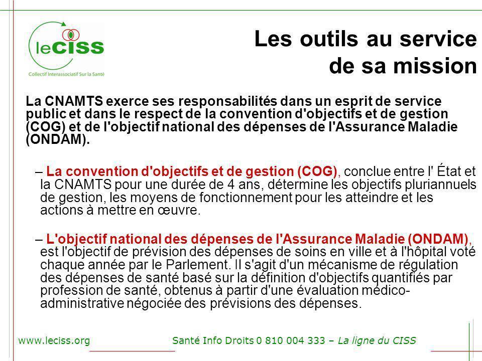 Les outils au service de sa mission www.leciss.orgSanté Info Droits 0 810 004 333 – La ligne du CISS La CNAMTS exerce ses responsabilités dans un espr