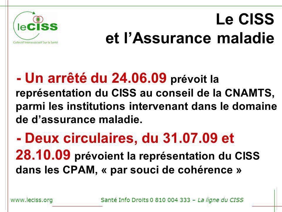 www.leciss.orgSanté Info Droits 0 810 004 333 – La ligne du CISS Le CISS et lAssurance maladie - Un arrêté du 24.06.09 prévoit la représentation du CI