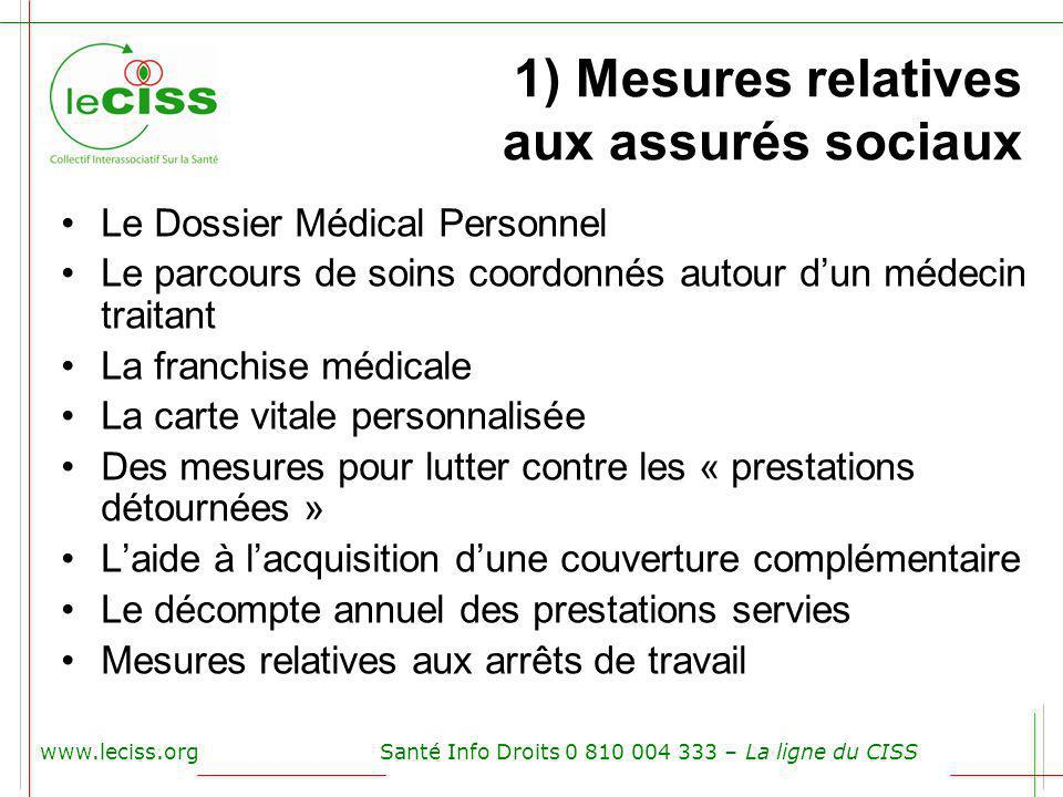 www.leciss.orgSanté Info Droits 0 810 004 333 – La ligne du CISS 1) Mesures relatives aux assurés sociaux Le Dossier Médical Personnel Le parcours de