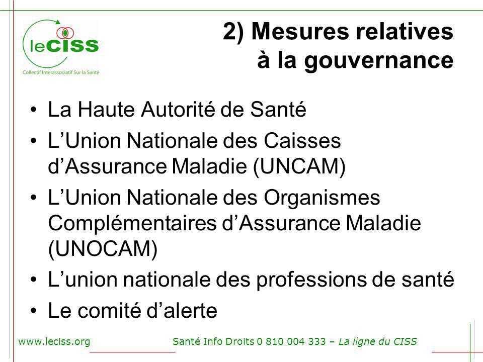 2) Mesures relatives à la gouvernance La Haute Autorité de Santé LUnion Nationale des Caisses dAssurance Maladie (UNCAM) LUnion Nationale des Organism