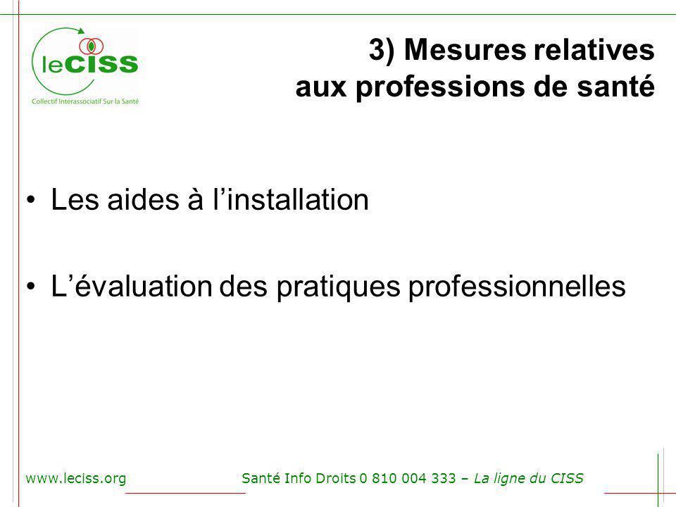 3) Mesures relatives aux professions de santé Les aides à linstallation Lévaluation des pratiques professionnelles www.leciss.orgSanté Info Droits 0 8
