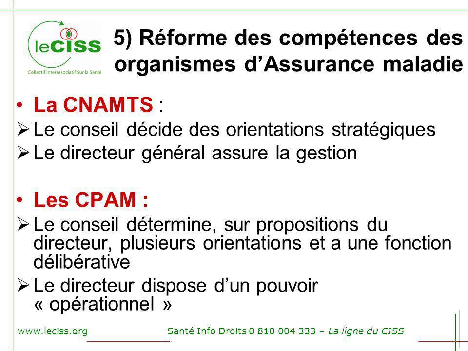 5) Réforme des compétences des organismes dAssurance maladie La CNAMTS : Le conseil décide des orientations stratégiques Le directeur général assure l