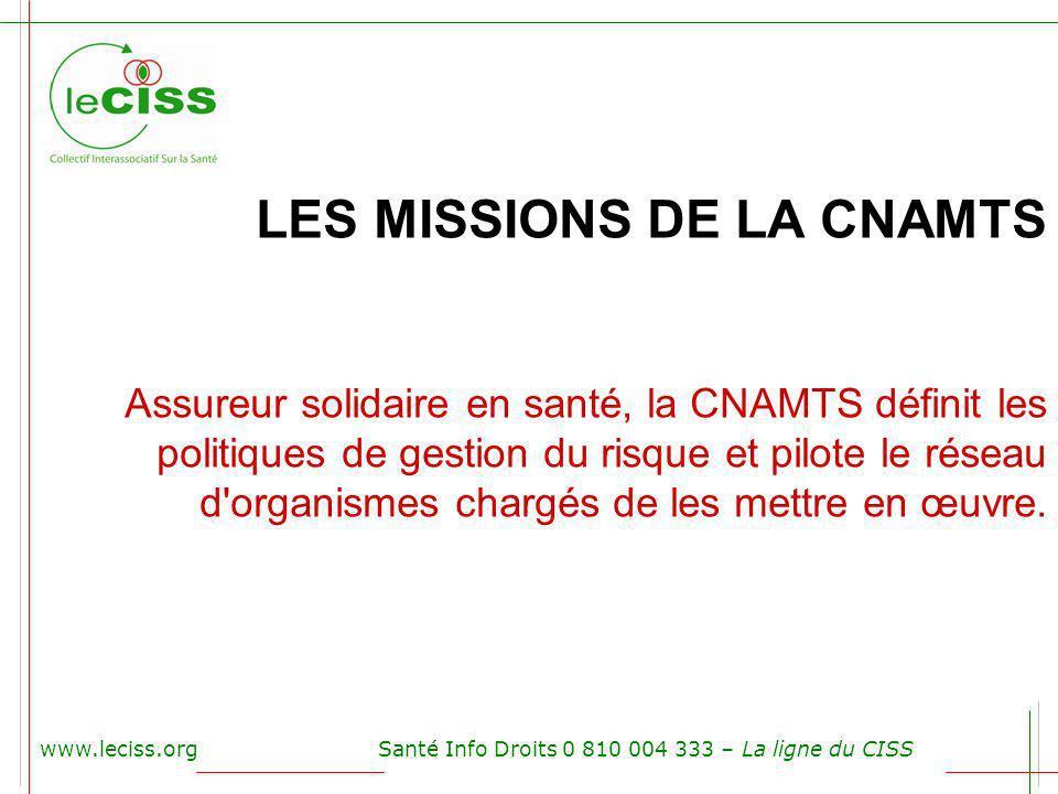 www.leciss.orgSanté Info Droits 0 810 004 333 – La ligne du CISS LES MISSIONS DE LA CNAMTS Assureur solidaire en santé, la CNAMTS définit les politiqu